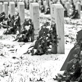 Wreaths laid upon headstones at Quantico Veteran's Cemetery