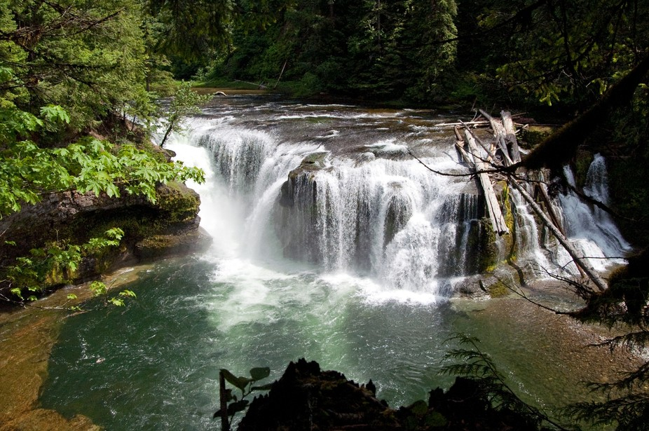 A shot of the falls on the Lewis river in the Gifford Pinchot national forest