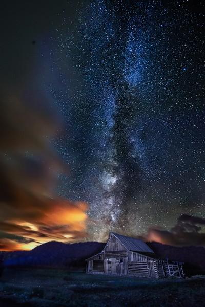 Light Painted Northern Historic Moulton Barn Milky Way