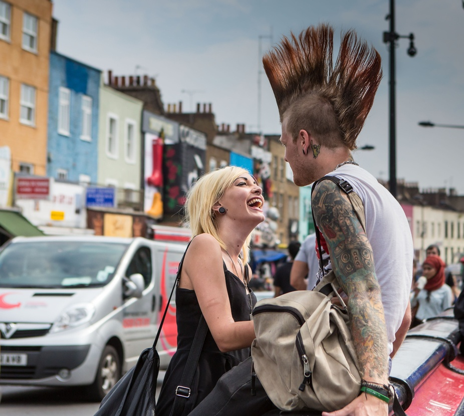 Camden town , London punk scene. You just got to love there happiness.
