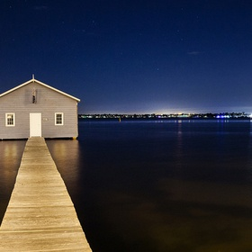 Night time boat shed