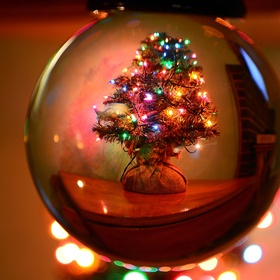 This is a photo of my little xmas tree thru my crystal ball