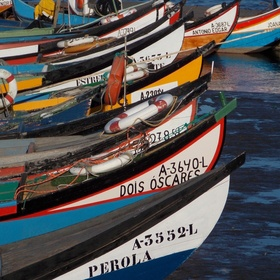 Fishing boats in the marina on the river in Torreira, Portugal