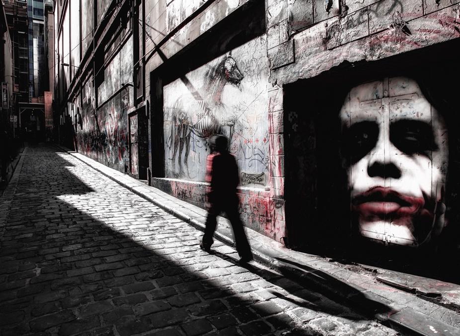 Taken on Hosier Lane in Melbourne, Australia, a street where graffiti artists are welcome.