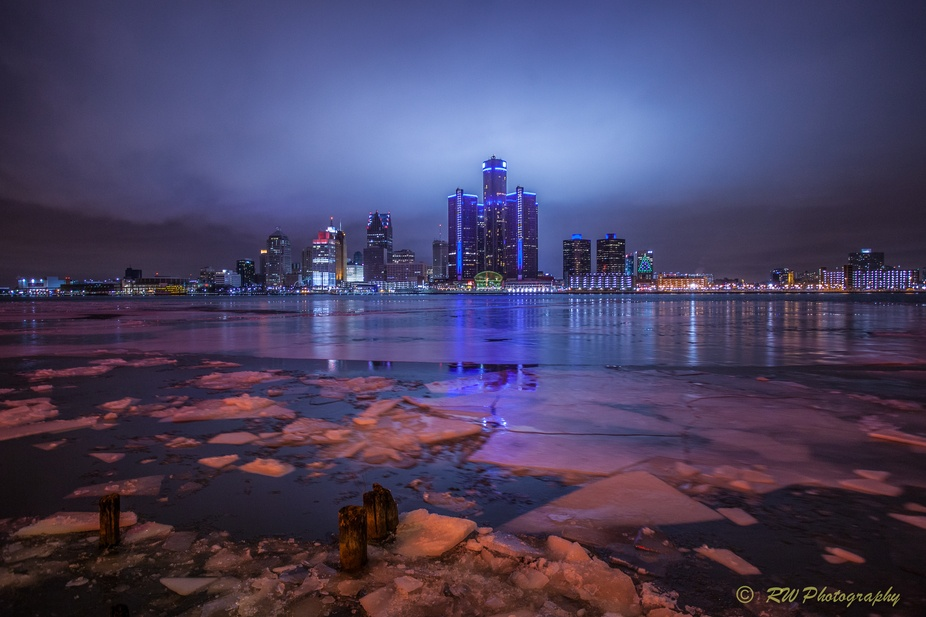 The skyline of downtown Detroit Michigan taken from across the Detroit River in Windsor, Canada. ...