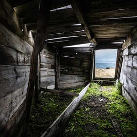 Abandoned hunting hut used by Greenland Inuits.