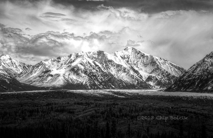 Alaska Mountains and Glacier by chipbhi - Black And White Mountain Peaks Photo Contest
