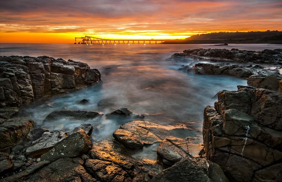 Sunrise on the rocks at Shell Harbour, NSW,Australia.