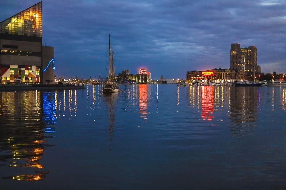 Twilight on Baltimore\'s inner harbor