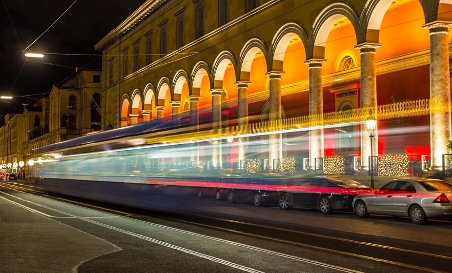 this is the line no 16 passing by in Munich\'s Maximilian street