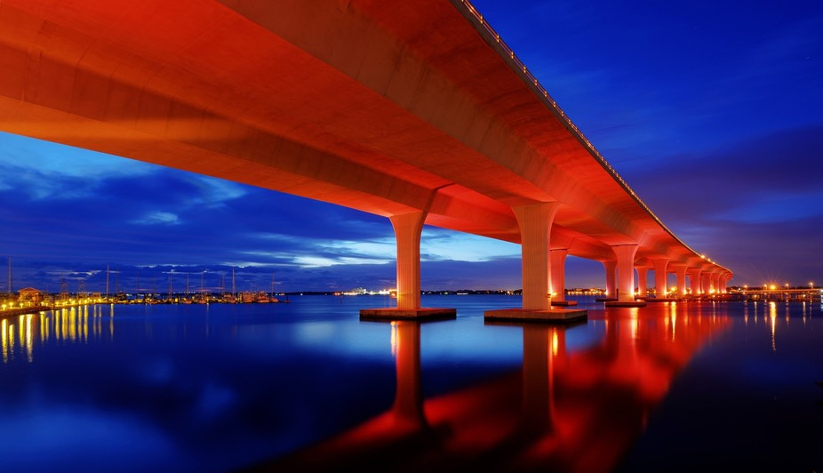 The Roosevelt Bridge in Stuart, FL lit up with pink lights in honor of National Breast Cancer Awa...