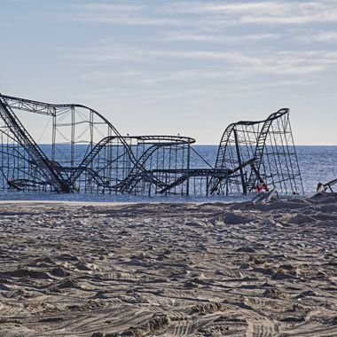 Seaside Heights Rollercoaster - in the Atlantic - after hurricane Sandy