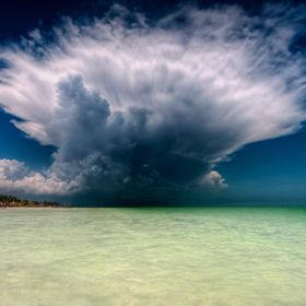 A cloud explosion over the mexican caribbean Sea.