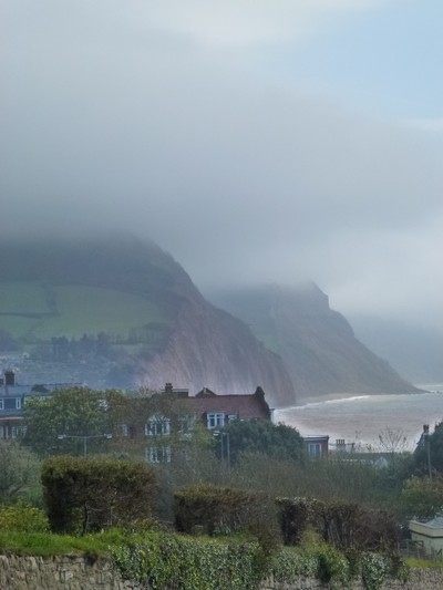 English coastline on a foggy day.