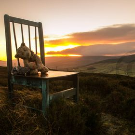 On the peak of Slievecorragh mountain, Hollywood, Co. Wicklow, Ireland. The chair & bear are known as the Dan Clancy monument, the story can be r...