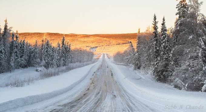 Typical Alaskan Highway by chand_sark - Winter Roads Photo Contest