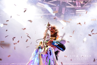 Wayne Coyne, lead singer of The Flaming Lips, during a performance in 2013