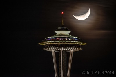 Moon Setting Behind the Space Needle
