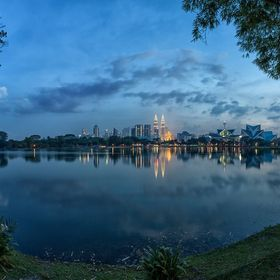 Kuala Lumpur during the blue hour, which lasts only 15 minutes there :).