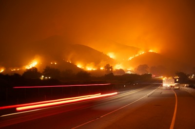 hills on fire near Pacific Coast Highway