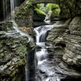 Watkins Glen State Park. Beautiful waterfall towards the end of the gorge trail.