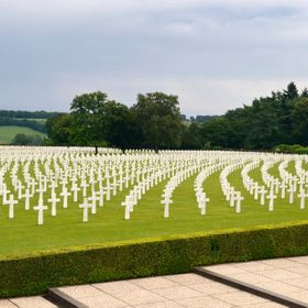 Graves of World War II soldiers in the Henri Chapelle Cemetery in Belgium.