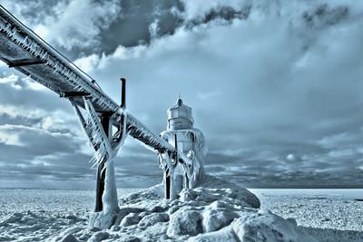 Frozen Lighthouse in Saint Joseph