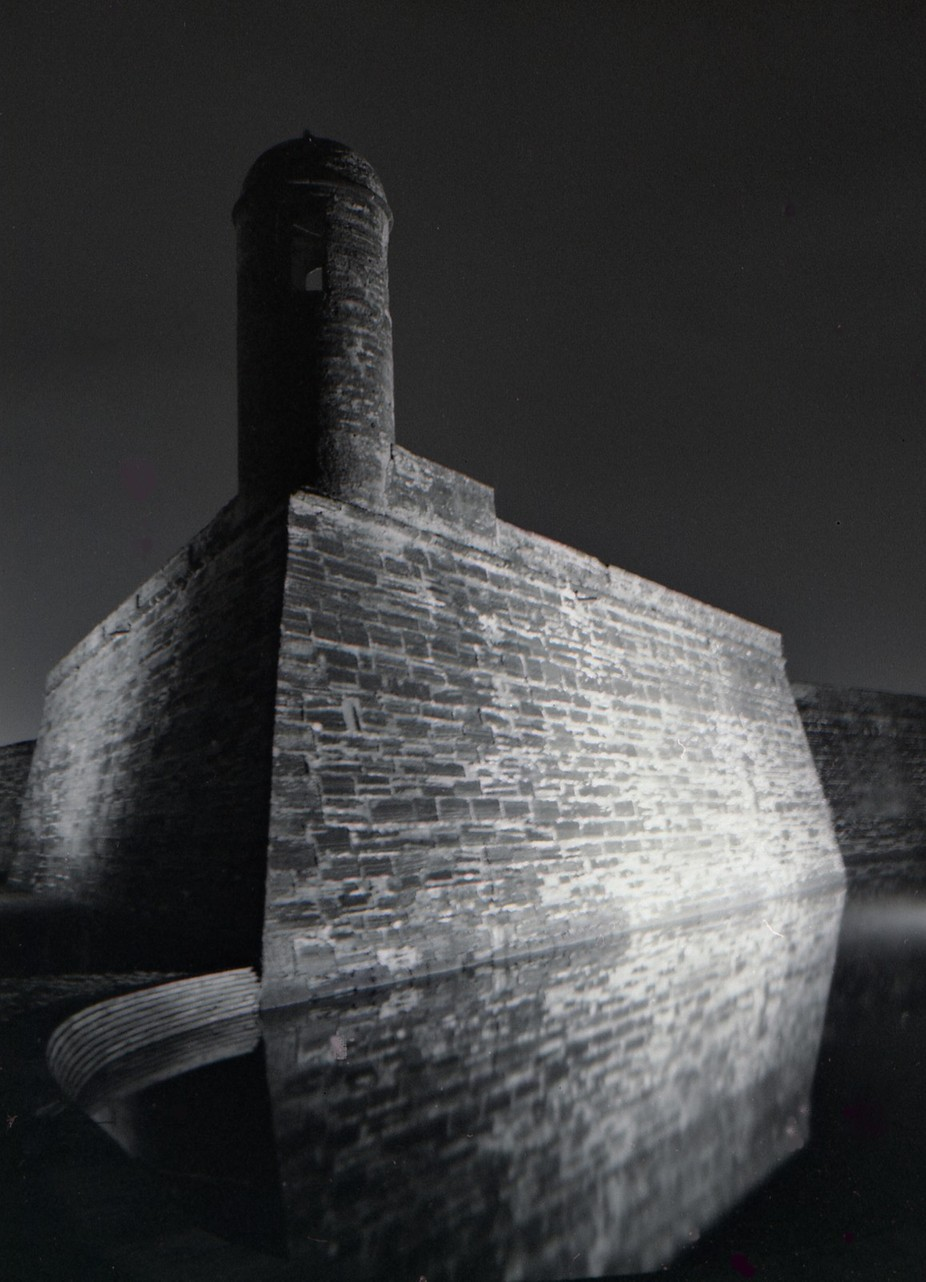 Night exposure 35mm black and white - Dark Bastille - The Castillo de San Marcos is the oldest masonry fort in the continental United States. Located on the shore of Matanzas Bay in the city of St. Augustine, Florida, construction began in 1672, 107 years after the city's founding by Spanish Admiral and conquistador Pedro Men�ez de Avil� when Florida was part of the Spanish Empire.