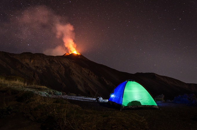 Camp on the volcano Etna by marcocalandra89 - Outdoor Action and Adventure Photo Contest by Focal Press