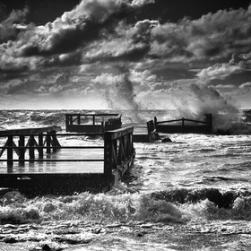 Waves Splash into human memories. This broken gangplank is in the city Where i was born. A piece of building into the sea... Different from it wa...