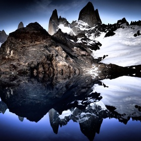 The lake provided a perfect mirror image of Mount Fitzroy. Some heavy processing was used to make the mountain glow.