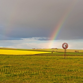 Rainbow in the Overberg District in the Western Cape of South Africa