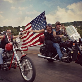 Celebrating freedom. I took this pic on another bike not seen in the photo.