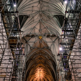 Neo-Gothic-style ceiling of St. Patrick's Cathedral in New York City under construction.