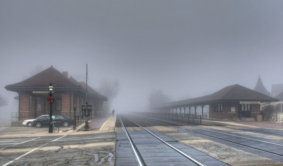 Fog at the depot in Riverside, IL.