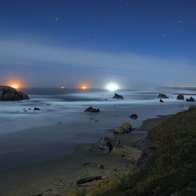 Shot under the light of a half moon.  Looking North from Coquille Point in Bandon, Oregon