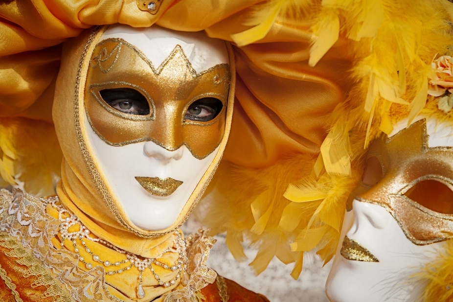Portrait of one of the fine masquerades in a typical Venetian carnival.