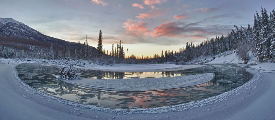 Bend along Eagle River in Eagle River Alaska
