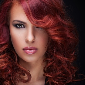 close up portrait of beautiful red hair women with great hairstyle