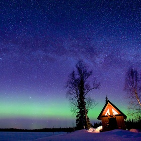 At 2 AM and -15 f the Aurora Borealis came to life to the North of the cabin at Trapper Creek Alaska. I was lucky as well to get the Milky Way in...