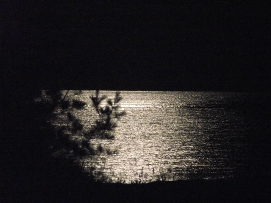 Moon Reflecting on Lake Huron, Oscoda ,Michigan