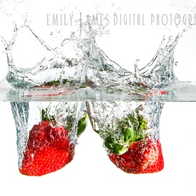 2 fresh strawberries dropped in a small fish tank.  Was fun but frustrating at times.