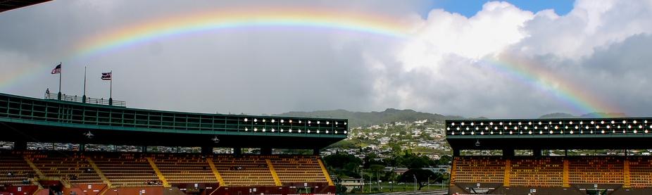 rainbow over the sheraton stadium in hawaii