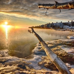Winter Sun Over Lake Superior
