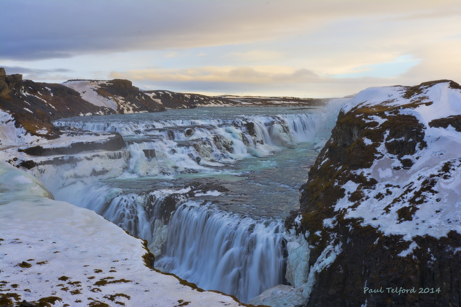 Gulfoss waterfall in Iceland  single shot showing all the levels of the waterfall