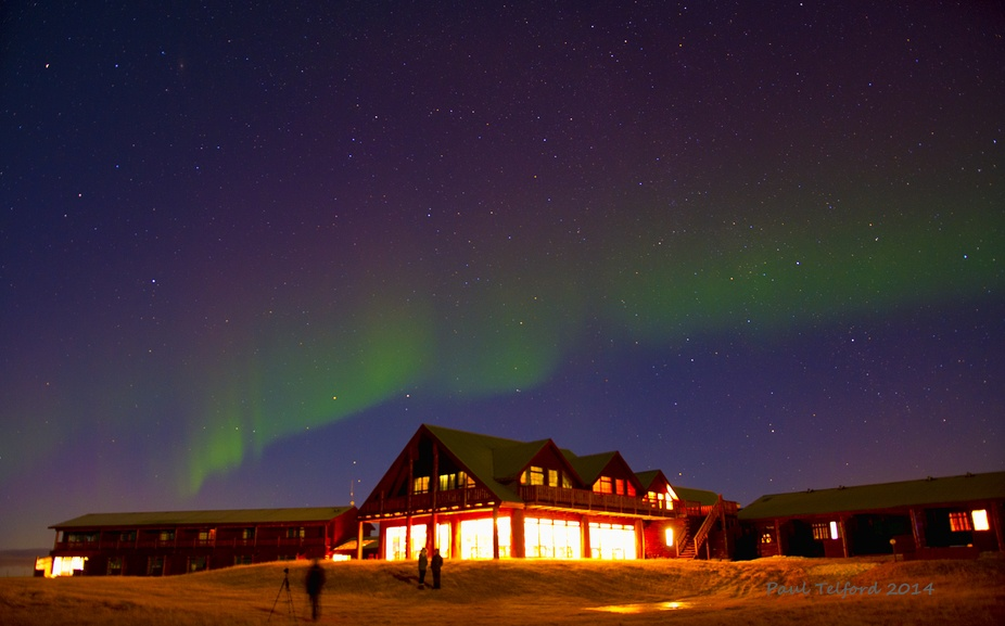 Northern lights over the Ranga Hotel in Iceland