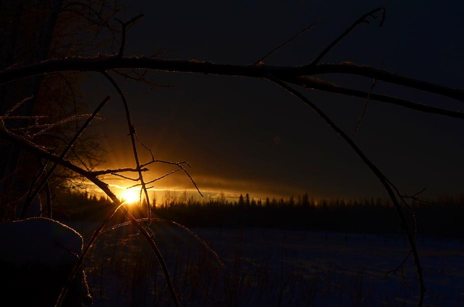 A January sunset in North Pole Alaska.