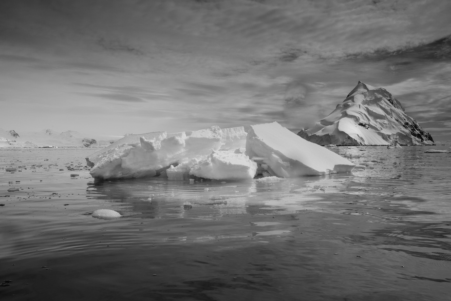 Calm waters and icy landscape of Wilhelmina Bay, Antarctica