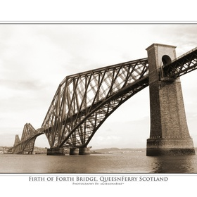 Sepia photograph of the Firth of Forth Bridge as seen from the South Queensferry pier with an Ansel Adams style title bar. Opened on 4 March 1890...