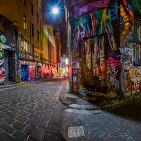 10 shot panoramic Hosier Street in Melbourne